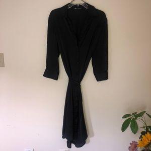 Zara Satin shirt dress